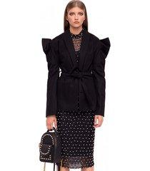 płaszcz z paskiem i bufiastymi rękawami elegancki