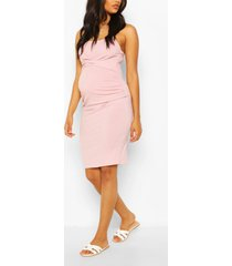 maternity scoop neck midi dress, rose