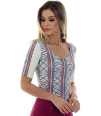 blusa ficalinda meia manga étnica tribal decote redondo