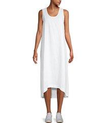 high-low linen shift dress