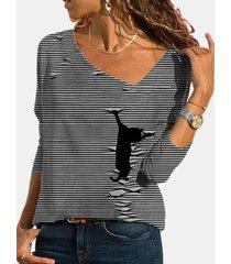 camicetta casual da donna con scollo a v manica lunga stampa gatto a righe