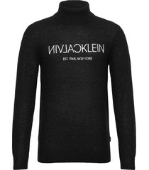 calvin plush logo sweater knitwear turtlenecks svart calvin klein