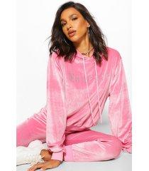 babygirl' hoodie met steentjes, pink