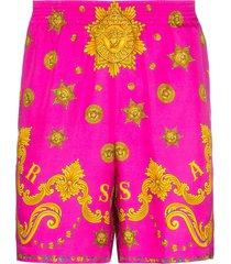 versace barocco western print silk shorts - pink