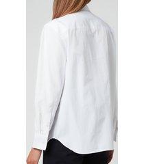 maison kitsuné women's fox head embroidery classic shirt - white - m