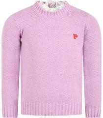 philosophy di lorenzo serafini lilac sweater for girl with logo