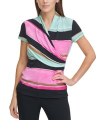 dkny colorblocked ruched top