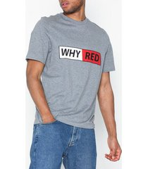 whyred foxton logo t-shirts & linnen grey melange