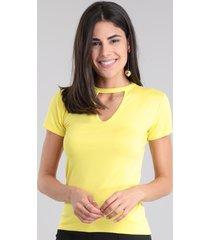 blusa básica choker amarelo