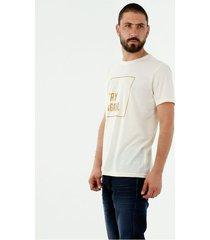 camiseta de hombre, cuello redondo, manga corta, con frase estampada