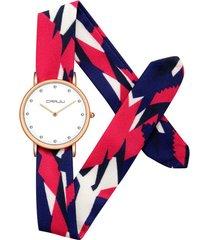 crrju donna orologio elegante con cinturino di tela colorata con strass regalo