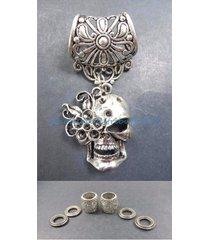 us seller-sugar skull pendant slider scarf ring scarf jewelry accessories