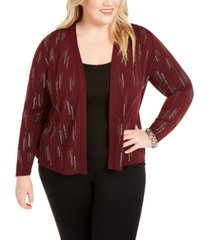 belldini plus size studded open cardigan
