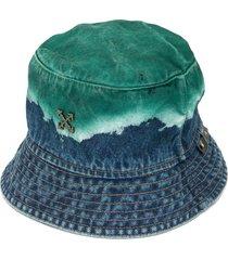 off-white denim acid dip bucket hat - blue