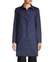 valentino women's lace-paneled coat - nero - size 4