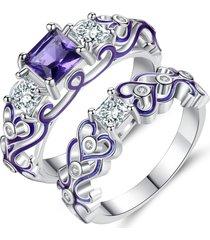 moda 2 pezzi di anelli decorativi modello hollow cuore zircone gioielli anello accessori per le donne