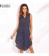 zanzea nueva llegada vestido de otoño camisa de mujer con estampado de rayas vestido de solapa sin mangas hem split hem casual tops largos azul -azul