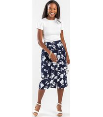 evelyn floral button midi skirt - navy
