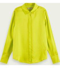 scotch & soda blouse met lange mouwen van zuivere zijde
