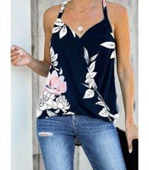 camisa sin mangas con cuello en v y cuello halter con estampado floral al azar yoins