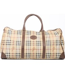 burberry boston haymarket check beige coated canvas duffle bag beige sz: e