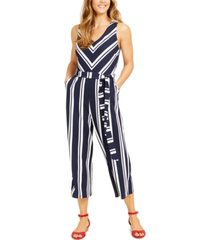 charter club petite striped crepe jumpsuit, created for macy's