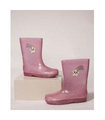 galocha infantil luelua arco-íris e estrela com glitter rosa
