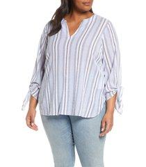 plus size women's michael michael kors metallic stripe tie sleeve blouse, size 2x - blue