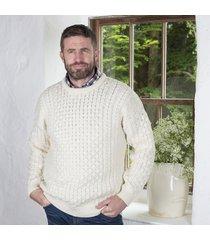 men's 100% soft merino wool natural ecru merino crew neck sweater large