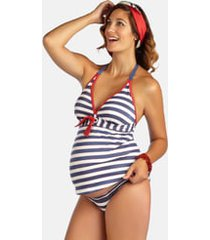 women's pez d'or 'palm springs' two-piece maternity swimsuit, size x-large - blue