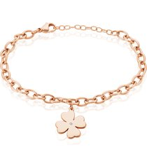 bracciale in acciaio rosato e strass con charm quadrifoglio per donna