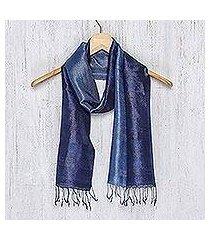 silk batik scarf, 'bluebell duality' (thailand)