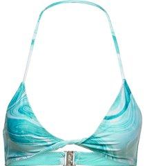 recycled printed bikinitop blå ganni