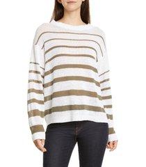 women's brochu walker reed stripe sweater, size small - white