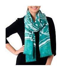 batik rayon scarf, 'bird home in emerald' (thailand)
