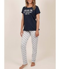 pyjama's / nachthemden admas homewear pyjamabroek t-shirt dream on navy