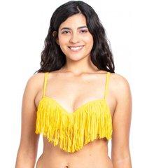 bikini estilo sostén con flecos amarillo samia