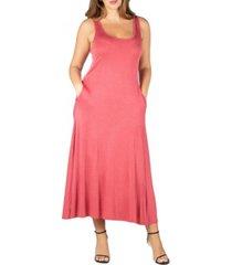 24seven comfort apparel women's plus size tank maxi dress