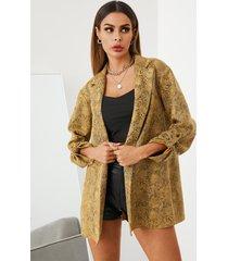 chaqueta de manga larga con cuello de solapa y diseño de botones de piel de serpiente amarilla yoins