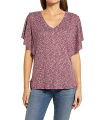 women's bobeau hacci flutter sleeve top, size small - red