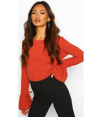crew neck chunky rib top with tie detail cuff, rust