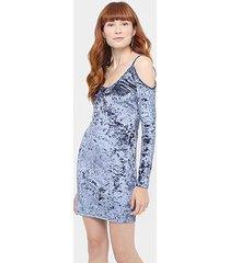 vestido pacific blue veludo recorte ombro a ombro