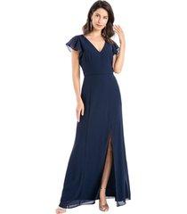 vestido fiesta abertura pierna azul nicopoly