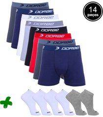 kit dorbe com 8 cuecas boxer + 6 pares meia colorido
