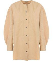 dusan oversized cardigan shirt - brown