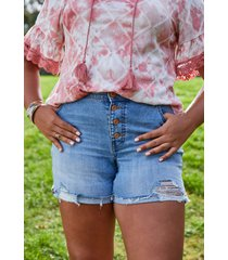maurices plus size womens high rise button fly destructed 6in shorts blue