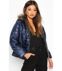 faux fur trim puffer jacket, navy