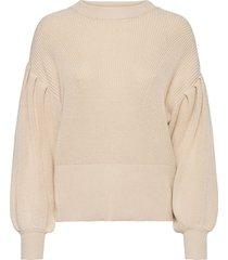 objviolette l/s knit pullover 113 stickad tröja beige object