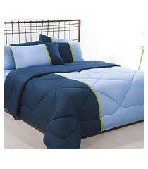 coordenado edredom + jogo de cama queen aconchego premium 06 peças - azul/ marinho