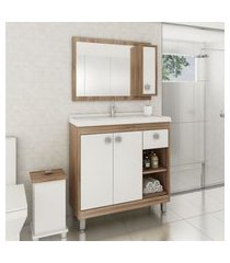 gabinete para banheiro 2 portas gaveta nichos lilies móveis